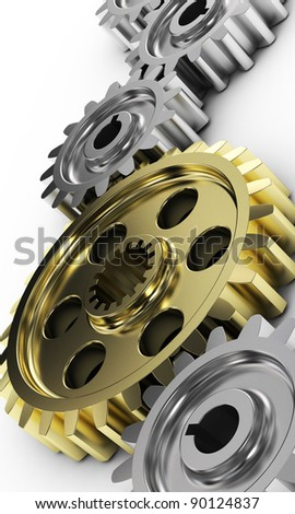 3d illustration of gear wheels system over white background - stock photo
