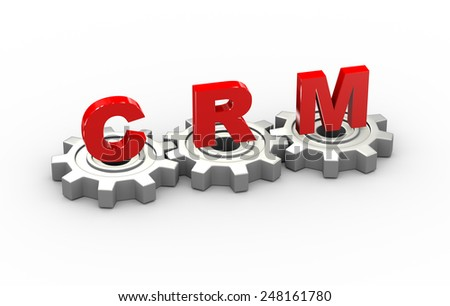 3d illustration of gears and crm customer relationship management concept - stock photo