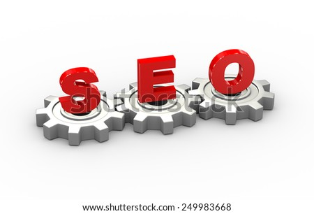 3d illustration of gears and seo search engine optimization concept