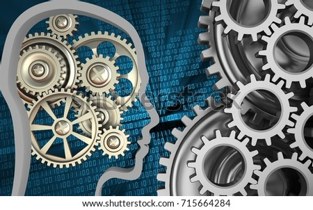 3d illustration of gears over binary background with mechanic