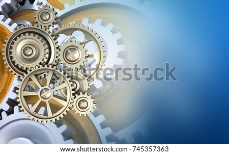 3d illustration of gears over blue background with gears