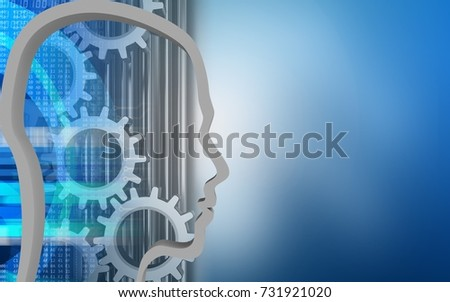 3d illustration of gears over blue background with head contour