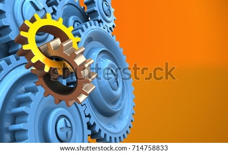 3d illustration of gears over orange background with blue gears
