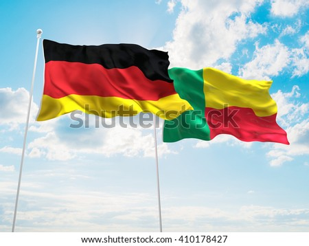 3D illustration of Germany & Benin Flags are waving in the sky
