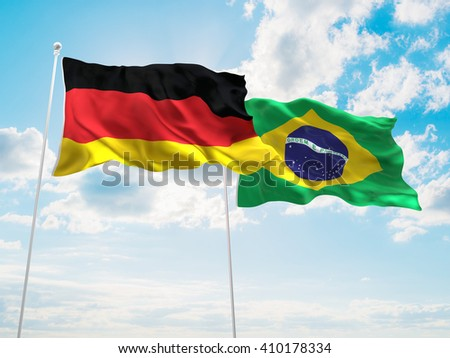 3D illustration of Germany & Brazil Flags are waving in the sky - stock photo