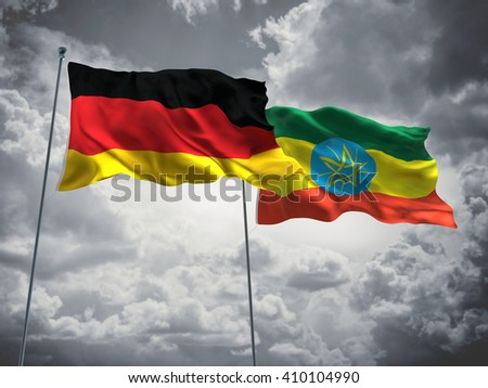 3D illustration of Germany & Ethiopia Flags are waving in the sky with dark clouds  - stock photo