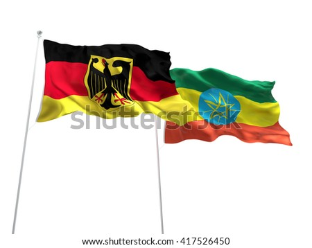 3D illustration of Germany & Ethiopia Flags are waving on the isolated white background - stock photo
