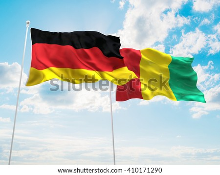 3D illustration of Germany & Guinea Flags are waving in the sky