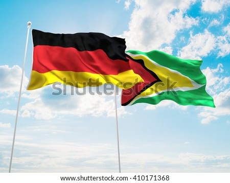 3D illustration of Germany & Guyana Flags are waving in the sky