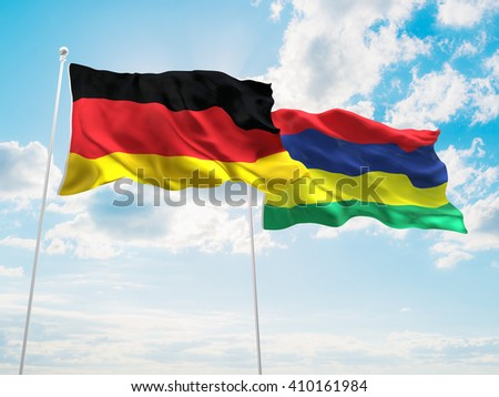 3D illustration of Germany & Mauritius Flags are waving in the sky