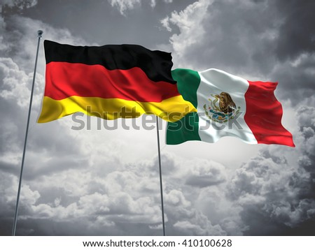 3D illustration of Germany & Mexico Flags are waving in the sky with dark clouds  - stock photo