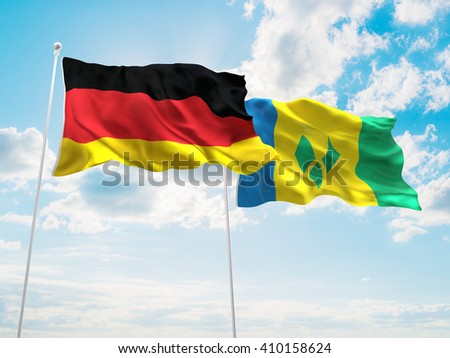 3D illustration of Germany & Saint Vincent and the Grenadines Flags are waving in the sky