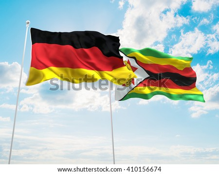 3D illustration of Germany & Zimbabwe Flags are waving in the sky