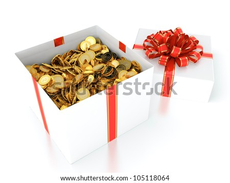 3D illustration of gift box full of gold coins - stock photo