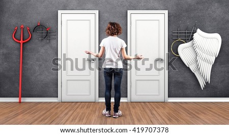 3d illustration of girl before a white doors