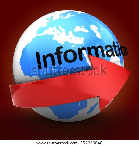 3d illustration of globe over red background  with information text with red arrow