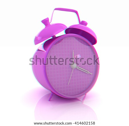 3d illustration of glossy purple alarm clock against white background . 3D illustration. Anaglyph. View with red/cyan glasses to see in 3D. - stock photo