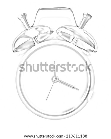 3D illustration of gold alarm clock icon on a white background. Pencil drawing  - stock photo