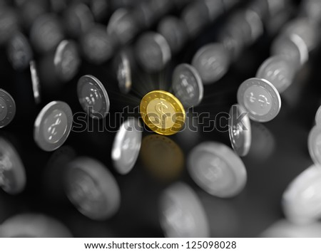3D illustration of gold coin among silver ones on dark background - stock photo