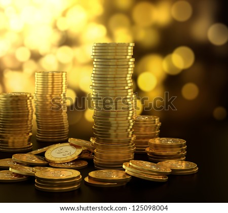 3D illustration of gold coin stack on blue background - stock photo