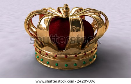 3d Illustration of gold crown on white background - stock photo