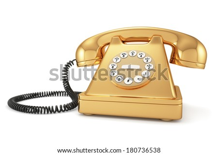 3d illustration of gold old-fashioned phone on white background