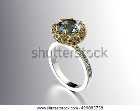 3D illustration of gold Ring with Diamond. Jewelry background. Fashion accessory. Emerald gemstone