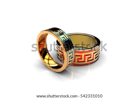 3d illustration of gold rings on white background