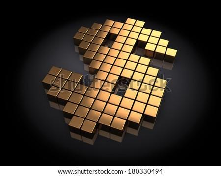 3d illustration of golden dollar sign built with blocks - stock photo