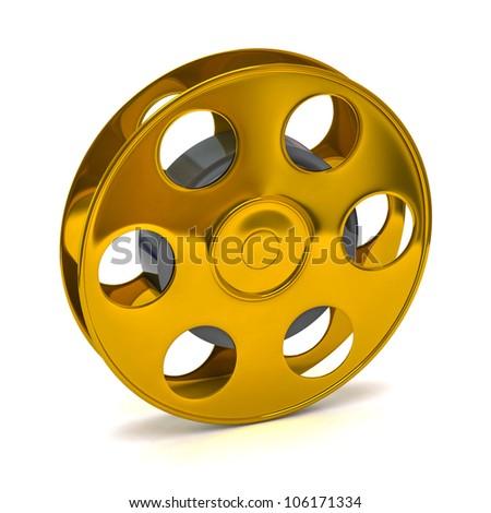 3d illustration of golden film reel - stock photo
