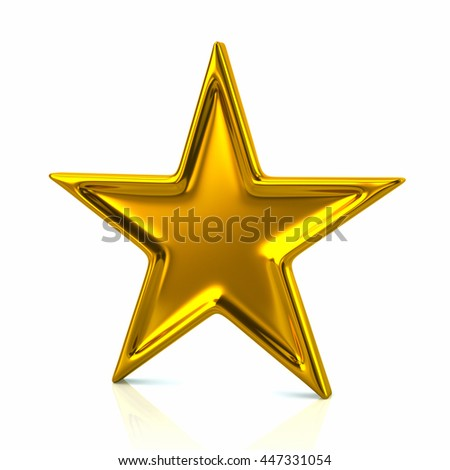 3d illustration of golden five-pointed star isolated on white background
