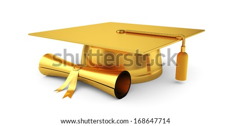 3d illustration of golden graduation cap with diploma. Isolated on white background  - stock photo