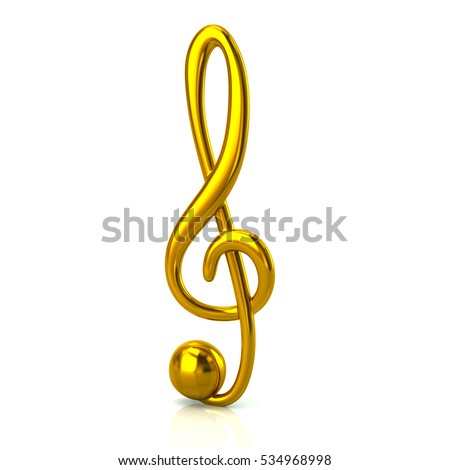 3d illustration of golden music treble clef isolated on white background