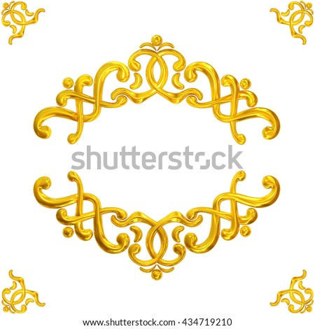 3d illustration of golden ornaments on a white background - stock photo