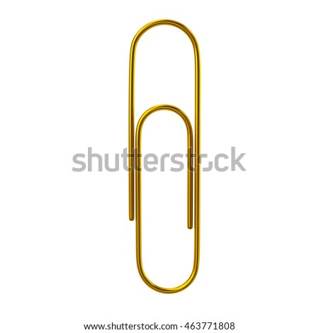 3d illustration of golden paper clip isolated on white background