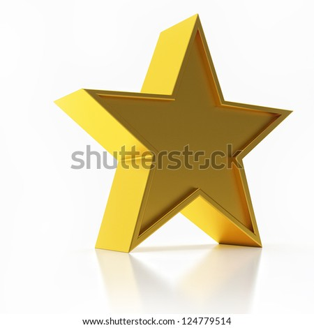 3D Illustration of Golden Star Isolated Over White Background