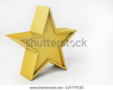 3D Illustration of Golden Star Isolated Over White Background - stock photo