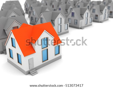 3d illustration of  gray houses and one red, home choice concept