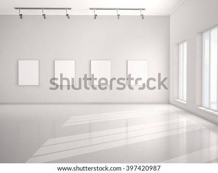 3d illustration of Great white canvas hanging in an empty open-plan interior