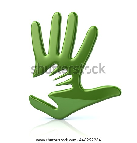 3d illustration of green adult and kid hand isolated on white background - stock photo