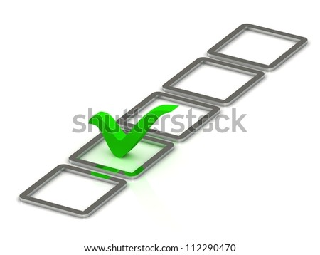 3d illustration of green check mark and 5 silver box over white background - stock photo