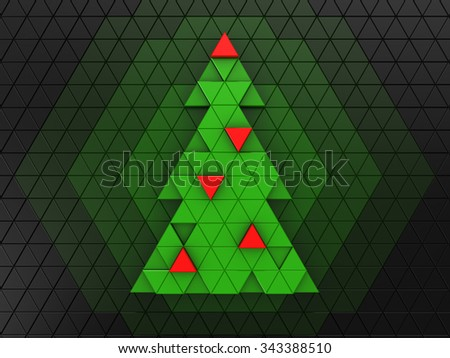 3d illustration of green christmas tree over dark background - stock photo