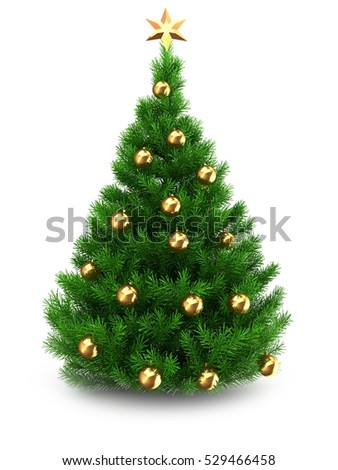3d illustration of green Christmas tree over white background with golden star and golden balls