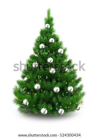 3d illustration of green Christmas tree over white background with lights and silver balls