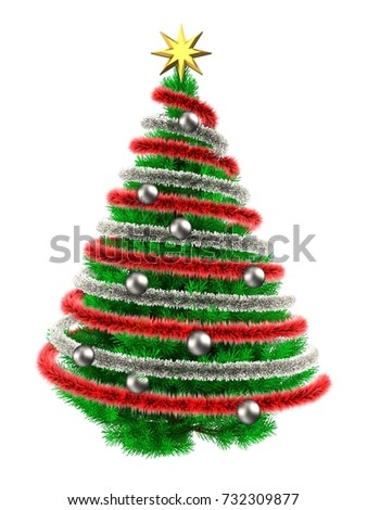 3d illustration of green Christmas tree over white with  and frippery