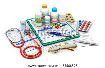 3D illustration of green clipboard pad with blue prescription medicine drug claim form, ballpoint pen, eyeglasses, stethoscope and group of bottles with drug pills, heap of tablets and other supplies