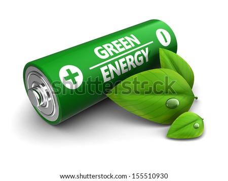 3d illustration of green energy battery concept - stock photo