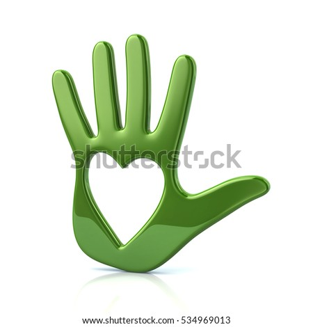 3d illustration of green  hand with heart isolated on white background
