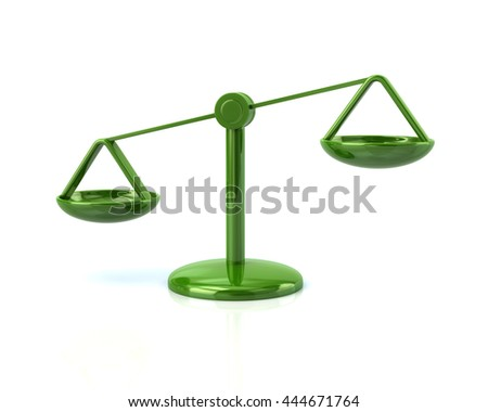 3d illustration of green justice scales icon isolated on white background - stock photo