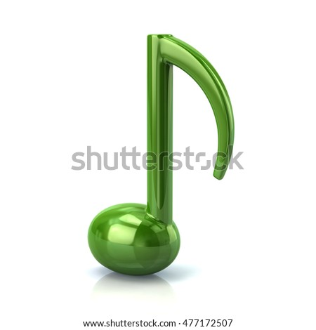 3d illustration of green music note isolated on white background